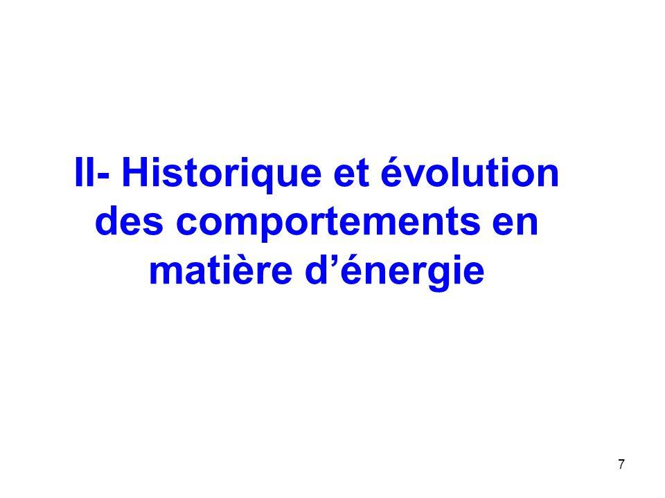 7 II- Historique et évolution des comportements en matière dénergie