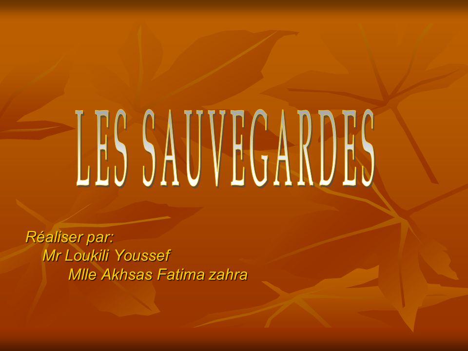 Réaliser par: Mr Loukili Youssef Mr Loukili Youssef Mlle Akhsas Fatima zahra Mlle Akhsas Fatima zahra