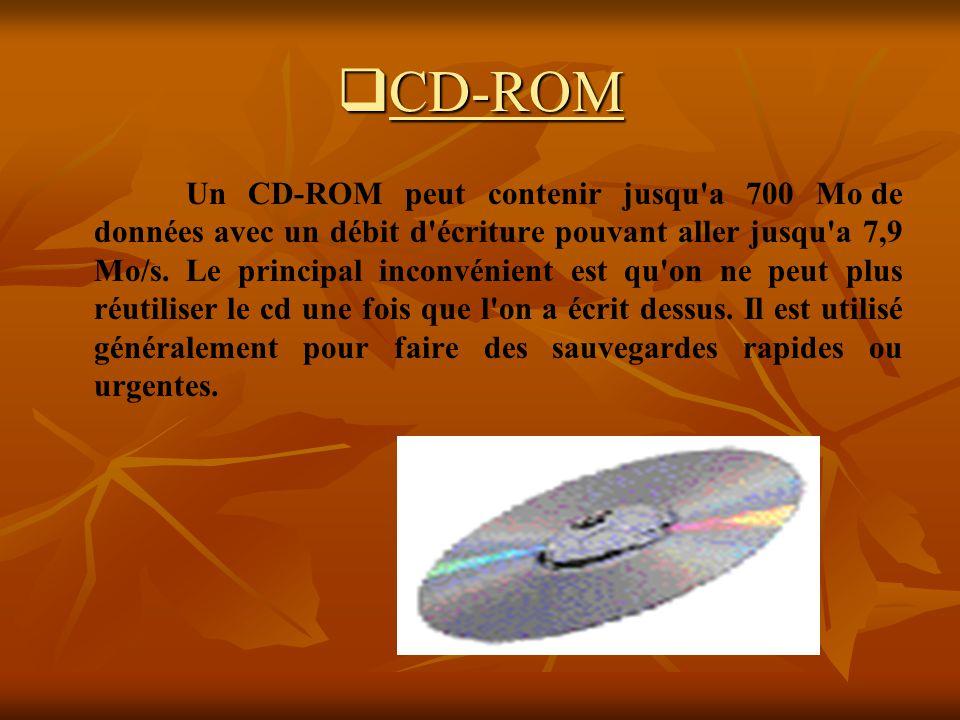 CD-ROM CD-ROM Un CD-ROM peut contenir jusqu'a 700 Mo de données avec un débit d'écriture pouvant aller jusqu'a 7,9 Mo/s. Le principal inconvénient est