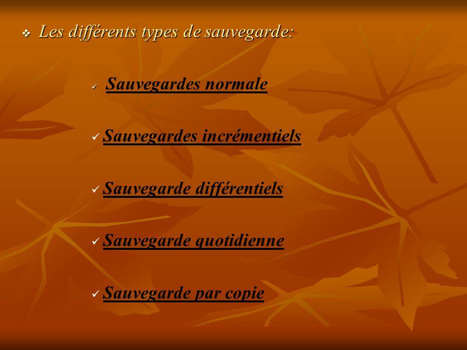 Les différents types de sauvegarde: Les différents types de sauvegarde: Sauvegardes normale Sauvegardes incrémentiels Sauvegarde différentiels Sauvega