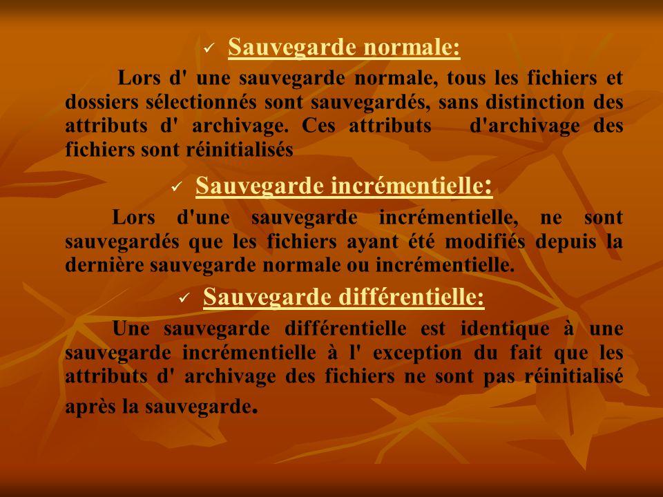 Sauvegarde normale: Lors d' une sauvegarde normale, tous les fichiers et dossiers sélectionnés sont sauvegardés, sans distinction des attributs d' arc