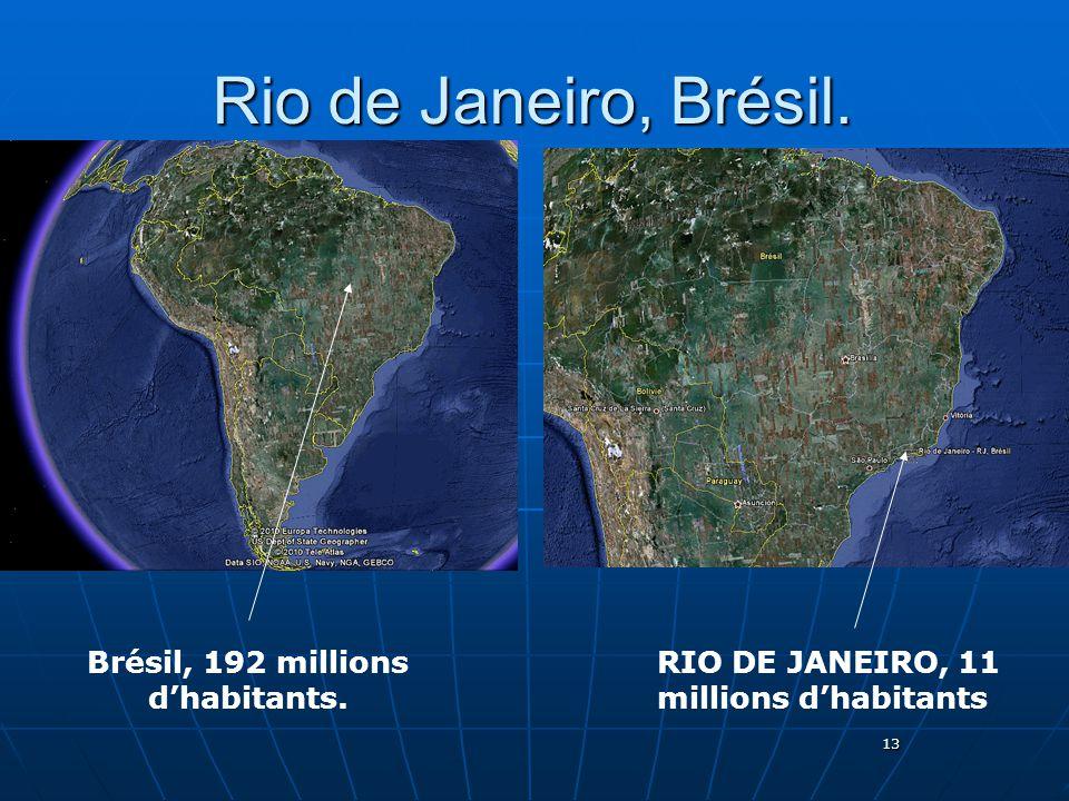 13 Rio de Janeiro, Brésil. Brésil, 192 millions dhabitants. RIO DE JANEIRO, 11 millions dhabitants