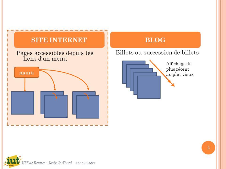 Pages accessibles depuis les liens dun menu Billets ou succession de billets SITE INTERNETBLOG Affichage du plus récent au plus vieux menu 2 IUT de Rennes – Isabelle Thual – 11/12/2008