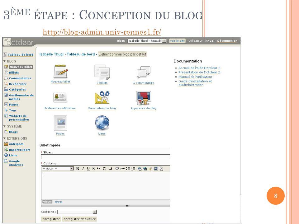 P AGE D ACCUEIL DE L ADMINISTRATION DU BLOG http://blog-admin.univ-rennes1.fr/ 8 IUT de Rennes – Isabelle Thual – 11/12/2008 3 ÈME ÉTAPE : C ONCEPTION DU BLOG