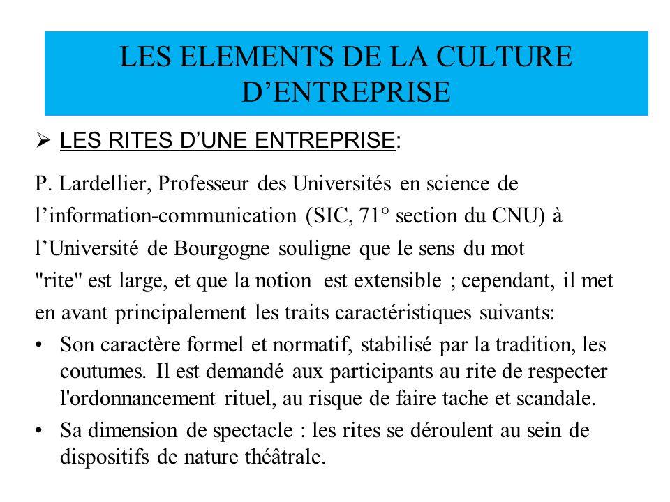 LES RITES DUNE ENTREPRISE: P. Lardellier, Professeur des Universités en science de linformation-communication (SIC, 71° section du CNU) à lUniversité