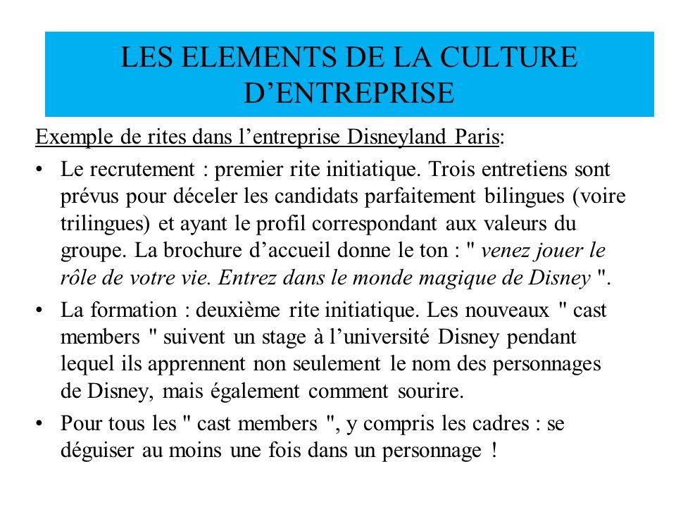 Exemple de rites dans lentreprise Disneyland Paris: Le recrutement : premier rite initiatique. Trois entretiens sont prévus pour déceler les candidats