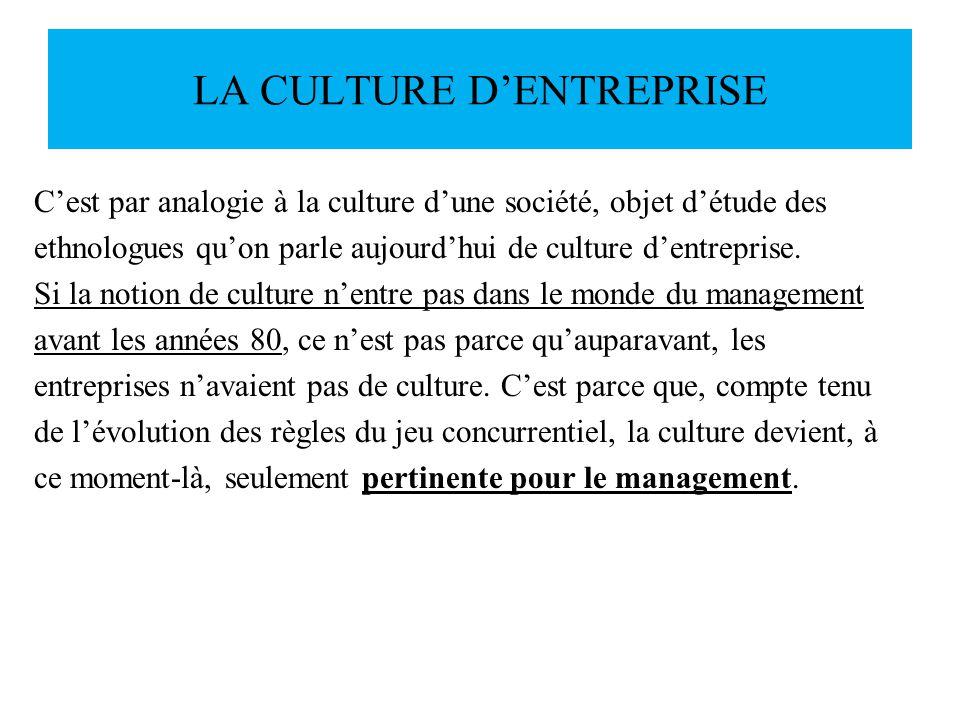 LA CULTURE DENTREPRISE Cest par analogie à la culture dune société, objet détude des ethnologues quon parle aujourdhui de culture dentreprise. Si la n