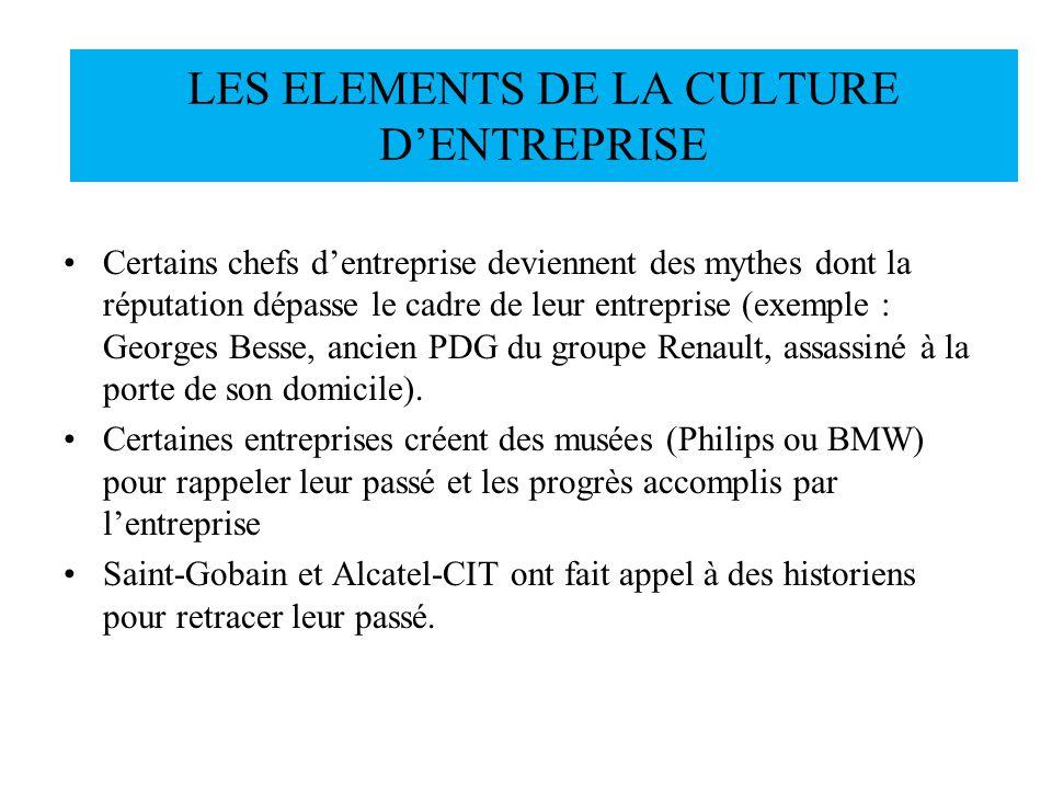 Certains chefs dentreprise deviennent des mythes dont la réputation dépasse le cadre de leur entreprise (exemple : Georges Besse, ancien PDG du groupe