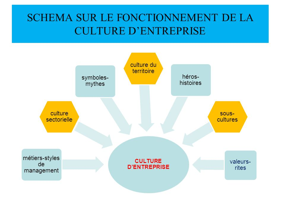 SCHEMA SUR LE FONCTIONNEMENT DE LA CULTURE DENTREPRISE CULTURE DENTREPRISE métiers-styles de management culture sectorielle symboles- mythes culture d