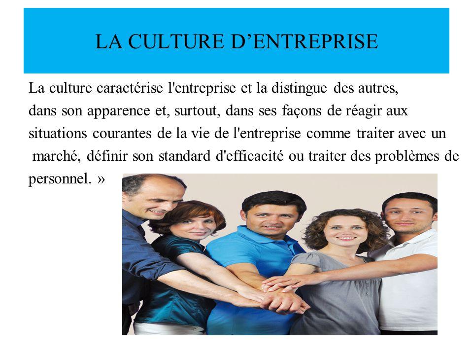 LA CULTURE DENTREPRISE La culture caractérise l'entreprise et la distingue des autres, dans son apparence et, surtout, dans ses façons de réagir aux s