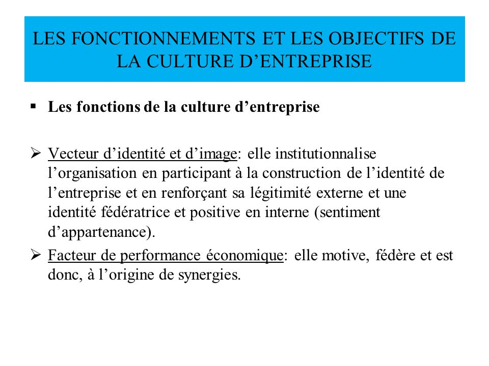 Les fonctions de la culture dentreprise Vecteur didentité et dimage: elle institutionnalise lorganisation en participant à la construction de lidentit