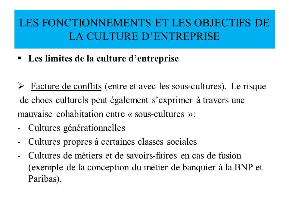 Les limites de la culture dentreprise Facture de conflits (entre et avec les sous-cultures). Le risque de chocs culturels peut également sexprimer à t