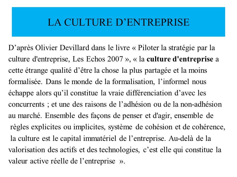LA CULTURE DENTREPRISE Daprès Olivier Devillard dans le livre « Piloter la stratégie par la culture d'entreprise, Les Echos 2007 », « la culture d'ent