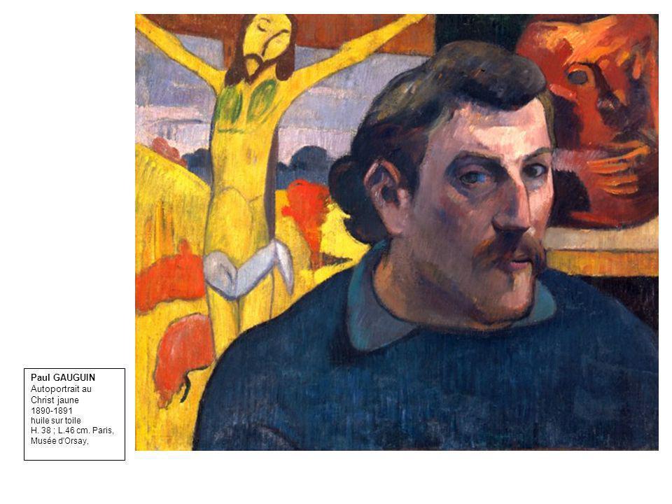 Paul GAUGUIN Autoportrait au Christ jaune 1890-1891 huile sur toile H. 38 ; L.46 cm. Paris, Musée d'Orsay,
