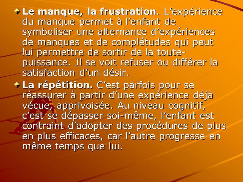 Le manque, la frustration. Lexpérience du manque permet à lenfant de symboliser une alternance dexpériences de manques et de complétudes qui peut lui