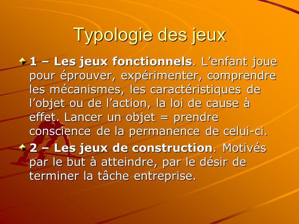 Typologie des jeux 1 – Les jeux fonctionnels. Lenfant joue pour éprouver, expérimenter, comprendre les mécanismes, les caractéristiques de lobjet ou d