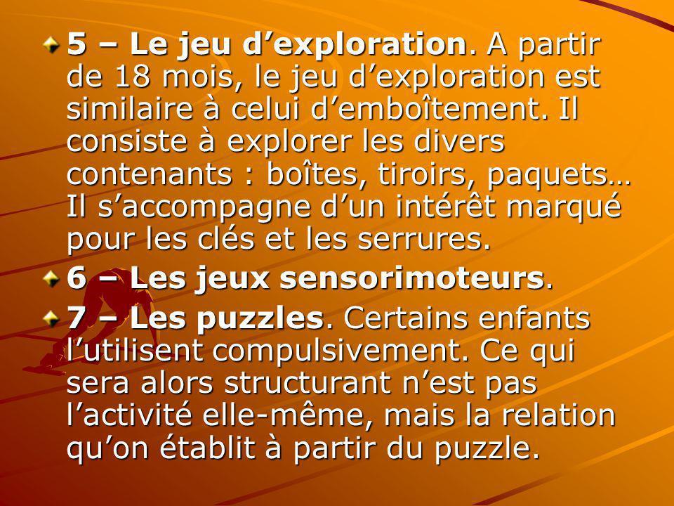 5 – Le jeu dexploration. A partir de 18 mois, le jeu dexploration est similaire à celui demboîtement. Il consiste à explorer les divers contenants : b