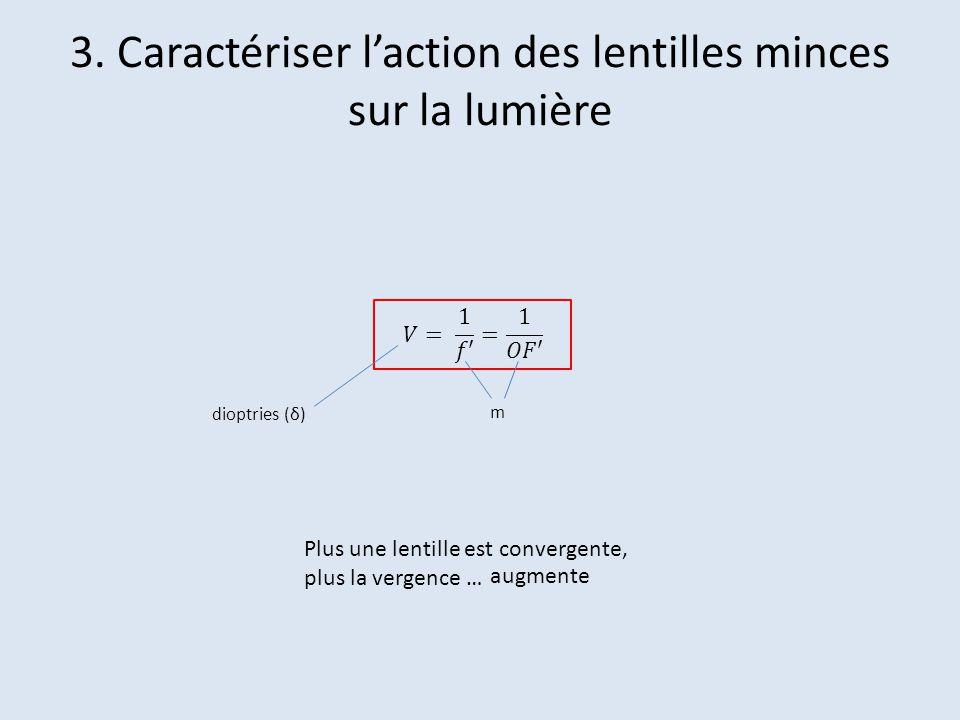 Plus une lentille est convergente, plus la vergence … augmente dioptries (δ) m 3. Caractériser laction des lentilles minces sur la lumière
