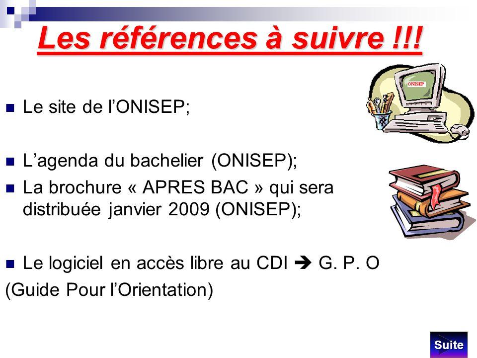 Les références à suivre !!! Le site de lONISEP; Lagenda du bachelier (ONISEP); La brochure « APRES BAC » qui sera distribuée janvier 2009 (ONISEP); Le