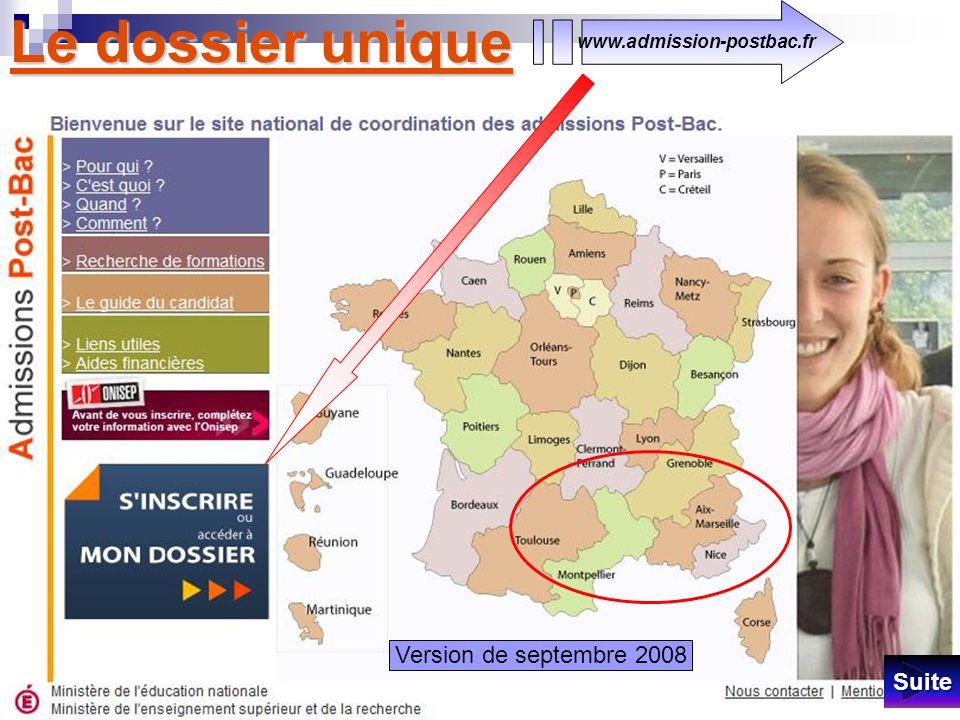 Le dossier unique www.admission-postbac.fr SSSS uuuu iiii tttt eeee Version fin octobre 2008 Je me suis arrêté à cette M à J.