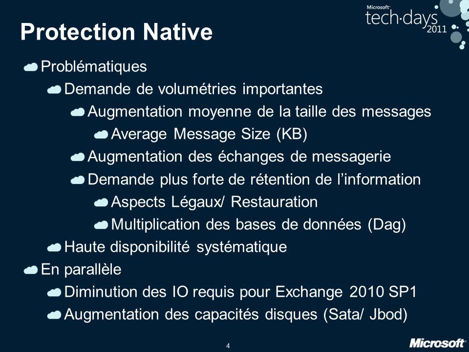 25 Copie de base de données différée Objectifs Restauration à un moment précis Fonctionnalités Possibilité de différé la réexecution des fichiers journaux au sein dune base de données données Jusqua 14 jours max Set-MailboxDatabaseCopy -Identity MBXDB1\Server1 -ReplayLagTime 14.0:0:0 Set-MailboxDatabaseCopy -Identity MBXDB1\Server1 -ReplayLagTime 14.0:0:0 Rééxécution des journaux pour repositionner la base de données dans le temps Peut être positionner dans un autre centre de données Plan de reprise dactivité Nécessite un stockage Raid > _