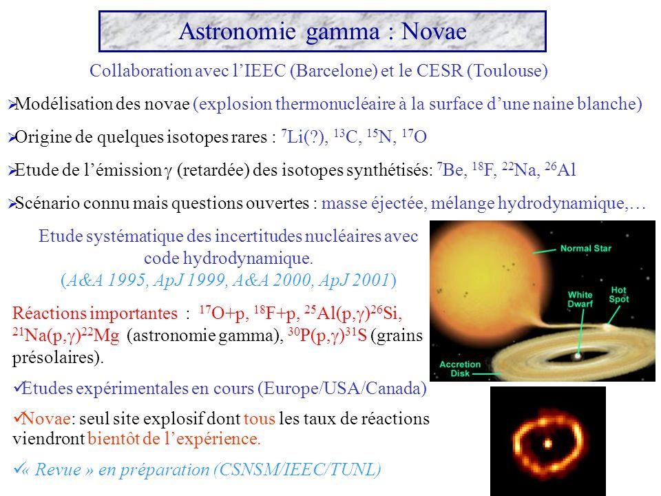 Modélisation des novae (explosion thermonucléaire à la surface dune naine blanche) Origine de quelques isotopes rares : 7 Li(?), 13 C, 15 N, 17 O Etud