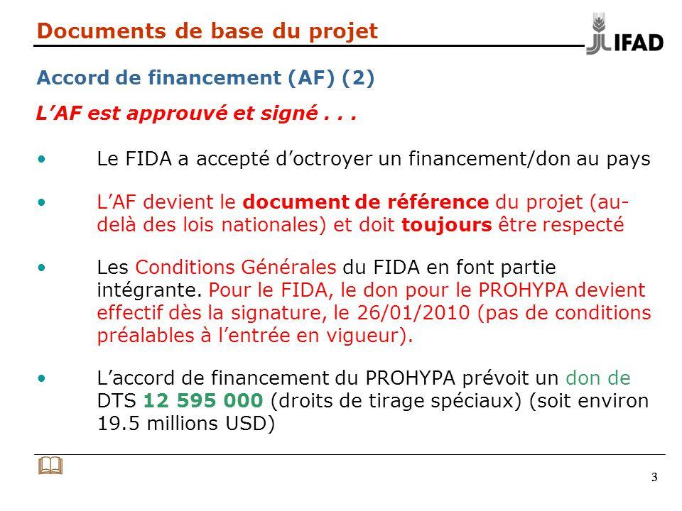 444 Documents de base du projet Accord de financement (AF) (3) Articles de laccord de financement Section A.