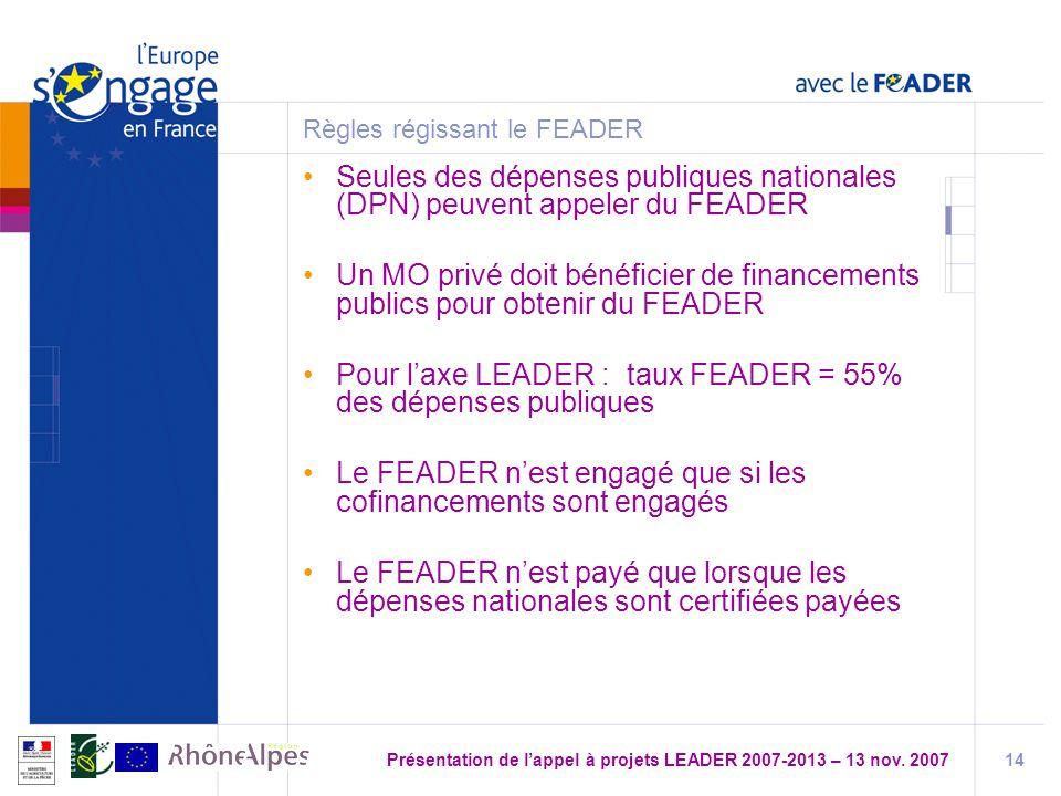 Présentation de lappel à projets LEADER 2007-2013 – 13 nov.