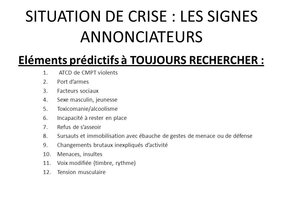 SITUATION DE CRISE : LES SIGNES ANNONCIATEURS Eléments prédictifs à TOUJOURS RECHERCHER : 1.ATCD de CMPT violents 2.Port darmes 3.Facteurs sociaux 4.S