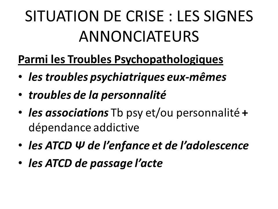 SITUATION DE CRISE : LES SIGNES ANNONCIATEURS Parmi les Troubles Psychopathologiques les troubles psychiatriques eux-mêmes troubles de la personnalité