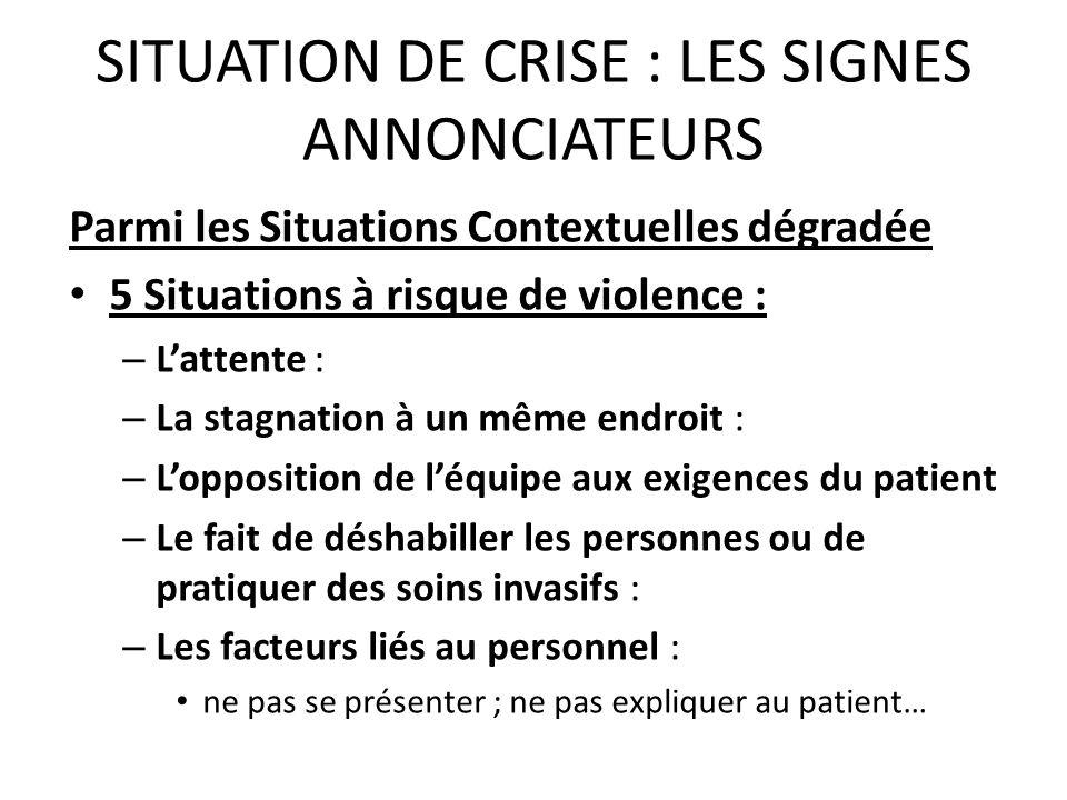 SITUATION DE CRISE : LES SIGNES ANNONCIATEURS Parmi les Situations Contextuelles dégradée 5 Situations à risque de violence : – Lattente : – La stagna