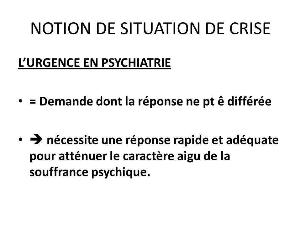 NOTION DE SITUATION DE CRISE LURGENCE EN PSYCHIATRIE = Demande dont la réponse ne pt ê différée nécessite une réponse rapide et adéquate pour atténuer