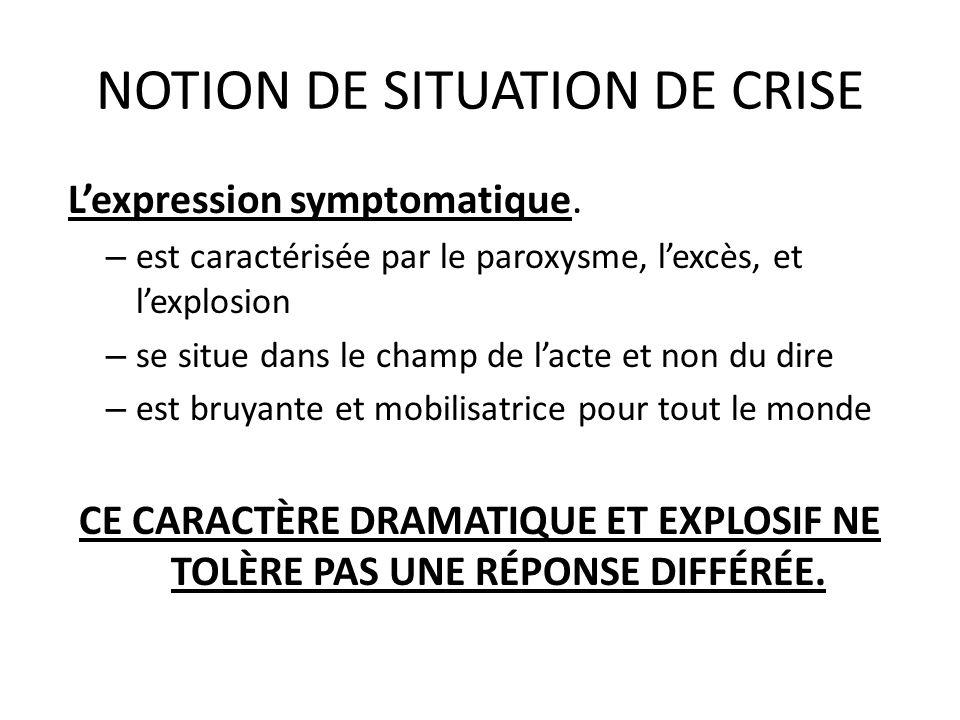 NOTION DE SITUATION DE CRISE Lexpression symptomatique. – est caractérisée par le paroxysme, lexcès, et lexplosion – se situe dans le champ de lacte e