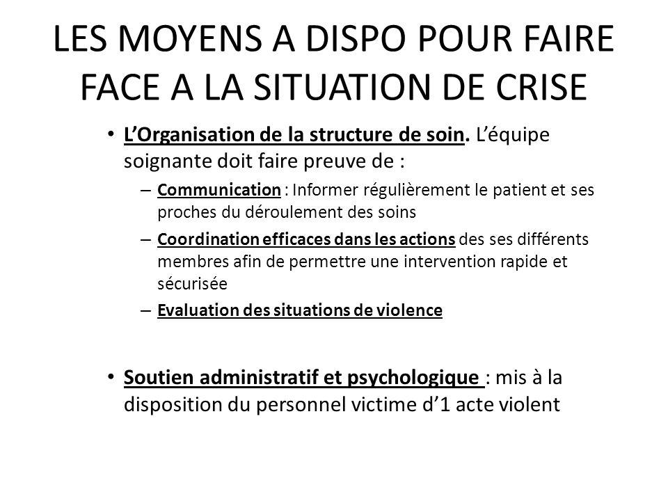LES MOYENS A DISPO POUR FAIRE FACE A LA SITUATION DE CRISE 2.