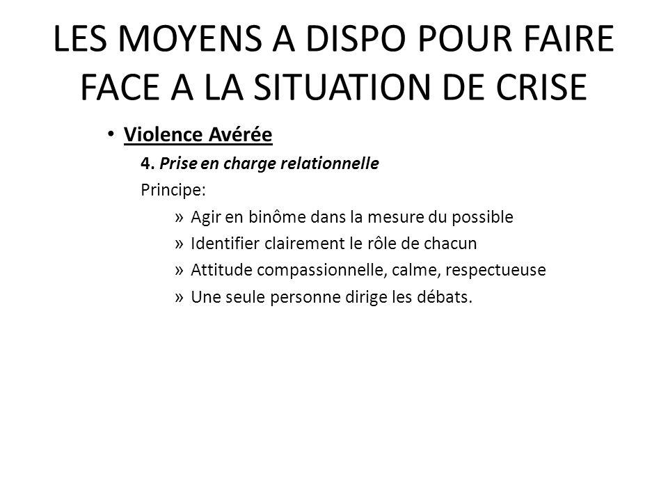 LES MOYENS A DISPO POUR FAIRE FACE A LA SITUATION DE CRISE Violence Avérée 4.