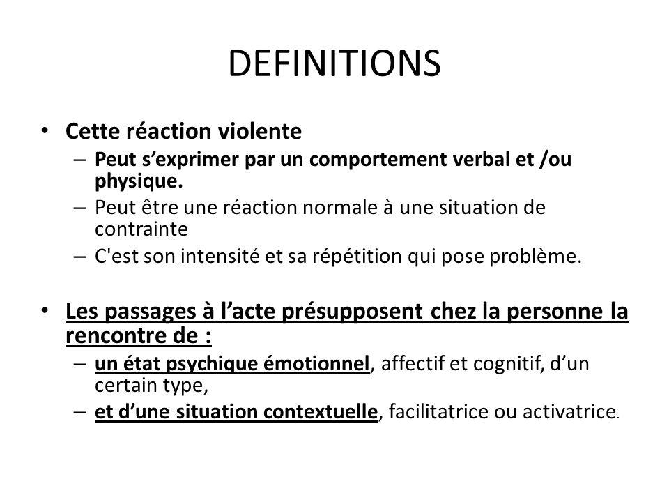 DEFINITIONS Cette réaction violente – Peut sexprimer par un comportement verbal et /ou physique. – Peut être une réaction normale à une situation de c