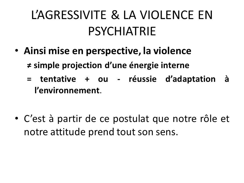 LAGRESSIVITE & LA VIOLENCE EN PSYCHIATRIE Lacte violent, parce quil remet en cause lintégrité physique et psychique de celui à qui elle est adressée, l empêche de penser.