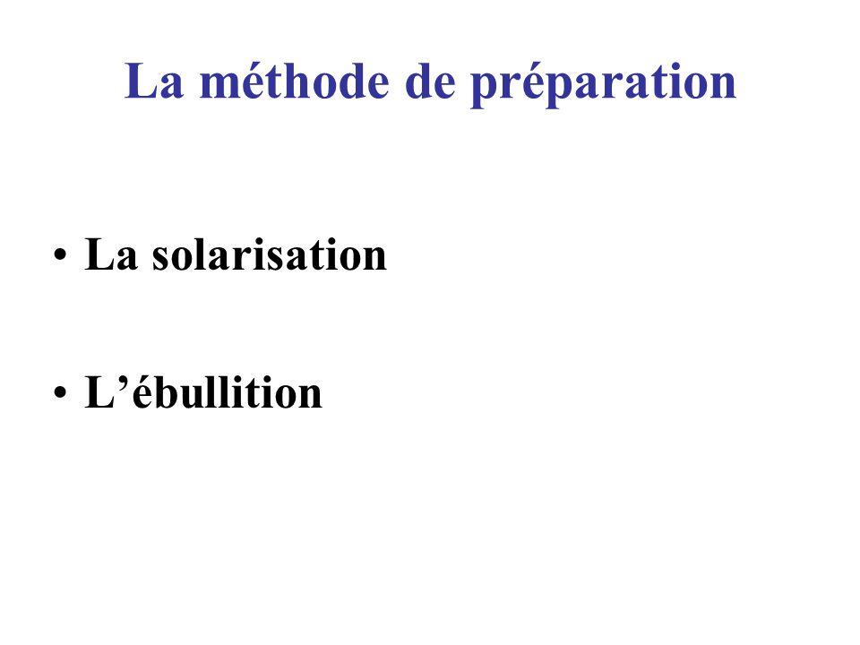 La méthode de préparation La solarisation Lébullition