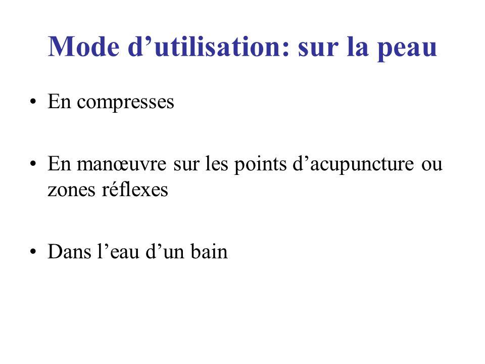 Mode dutilisation: sur la peau En compresses En manœuvre sur les points dacupuncture ou zones réflexes Dans leau dun bain