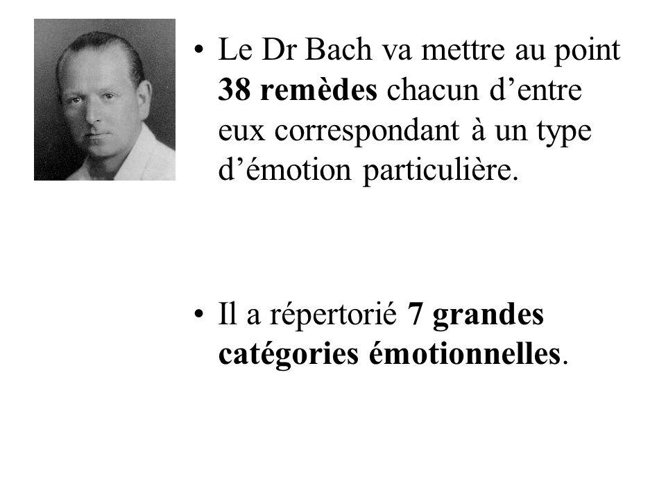 Le Dr Bach va mettre au point 38 remèdes chacun dentre eux correspondant à un type démotion particulière. Il a répertorié 7 grandes catégories émotion