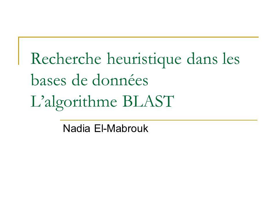 Recherche heuristique dans les bases de données Lalgorithme BLAST Nadia El-Mabrouk