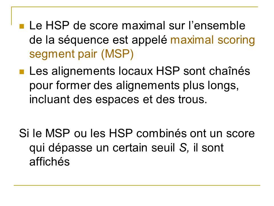 Le HSP de score maximal sur lensemble de la séquence est appelé maximal scoring segment pair (MSP) Les alignements locaux HSP sont chaînés pour former