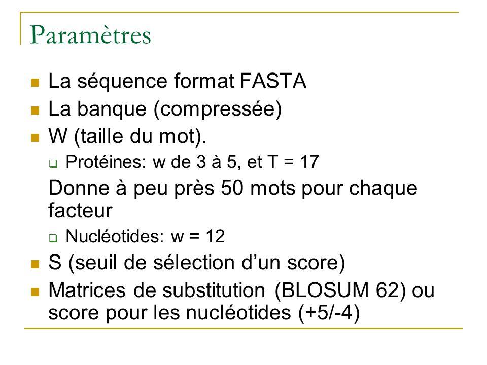Paramètres La séquence format FASTA La banque (compressée) W (taille du mot). Protéines: w de 3 à 5, et T = 17 Donne à peu près 50 mots pour chaque fa