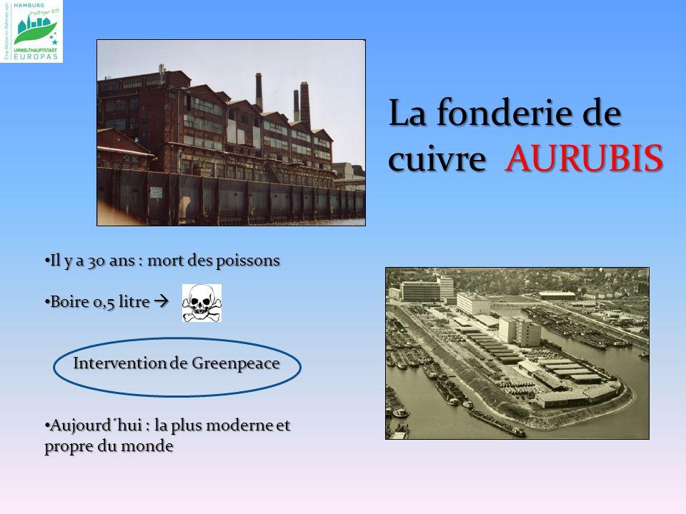 La fonderie de cuivre AURUBIS Il y a 30 ans : mort des poissons Il y a 30 ans : mort des poissons Boire 0,5 litre Boire 0,5 litre Intervention de Greenpeace Aujourd´hui : la plus moderne et propre du monde Aujourd´hui : la plus moderne et propre du monde