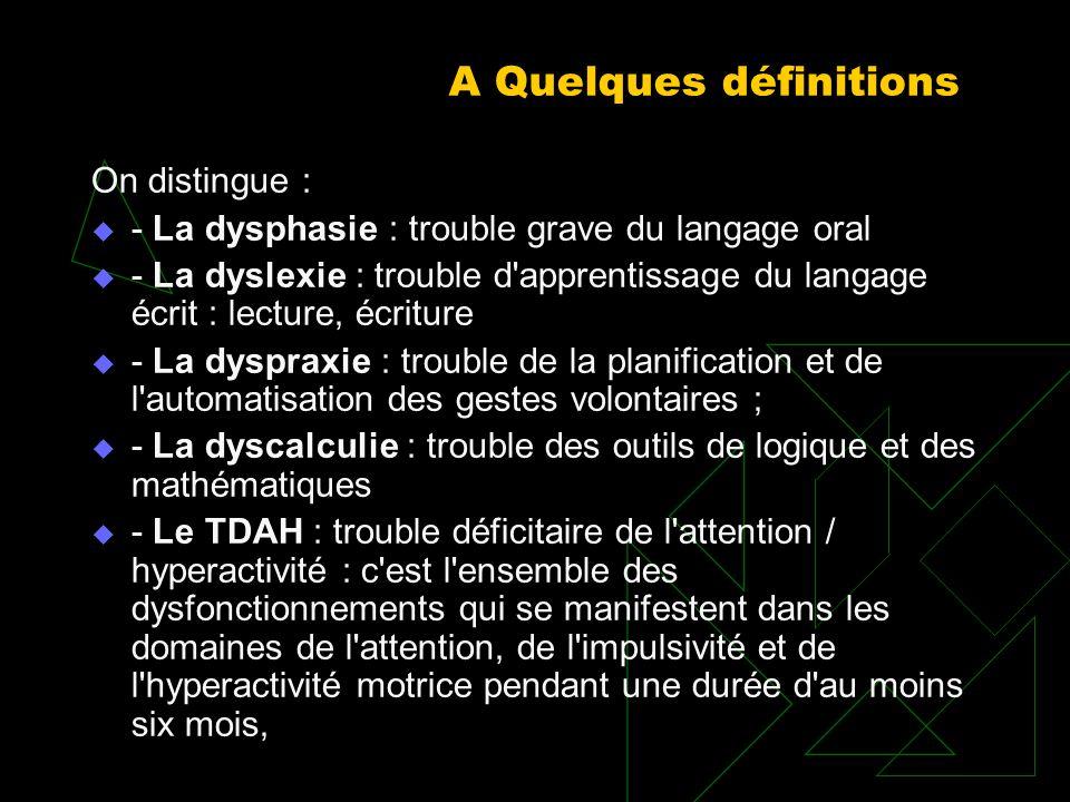 A Quelques définitions On distingue : La dysphasie : trouble grave du langage oral La dyslexie : trouble d'apprentissage du langage écrit : lecture, é
