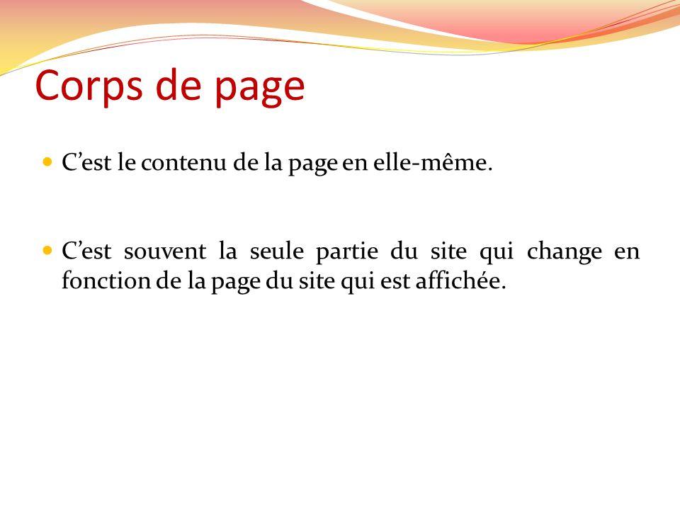 Corps de page Cest le contenu de la page en elle-même. Cest souvent la seule partie du site qui change en fonction de la page du site qui est affichée