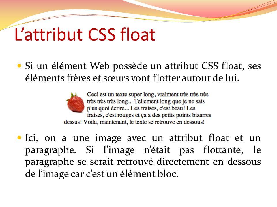 Lattribut CSS float Si un élément Web possède un attribut CSS float, ses éléments frères et sœurs vont flotter autour de lui. Ici, on a une image avec