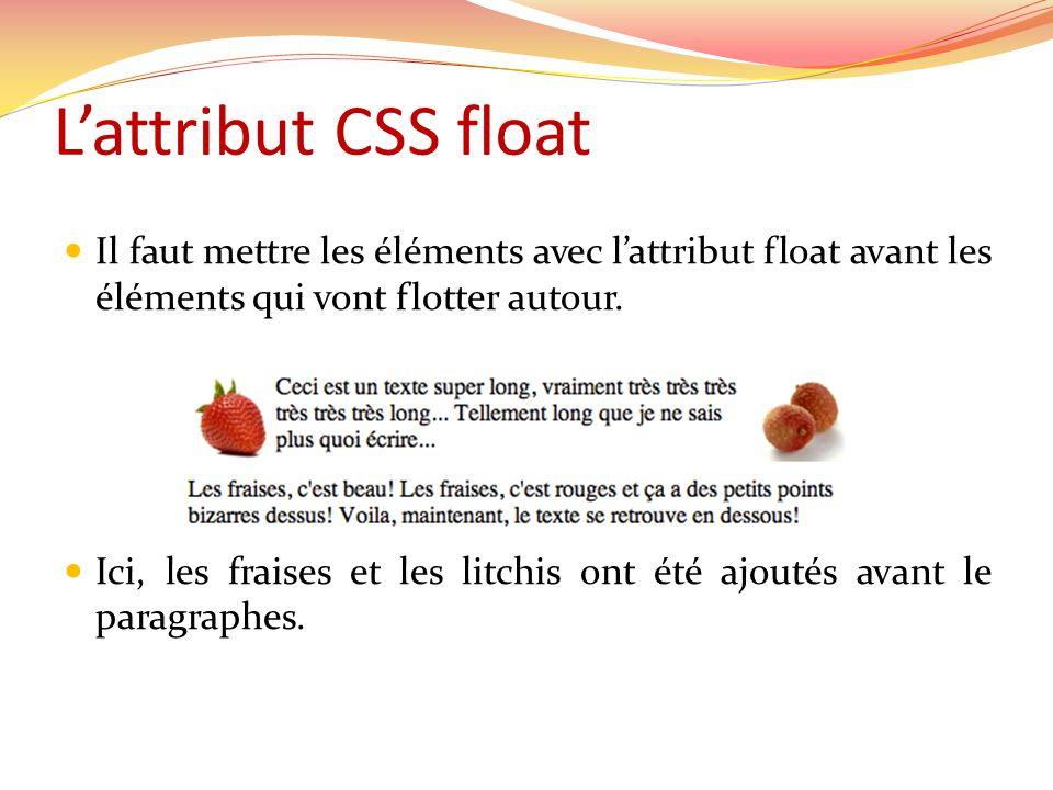 Lattribut CSS float Il faut mettre les éléments avec lattribut float avant les éléments qui vont flotter autour. Ici, les fraises et les litchis ont é