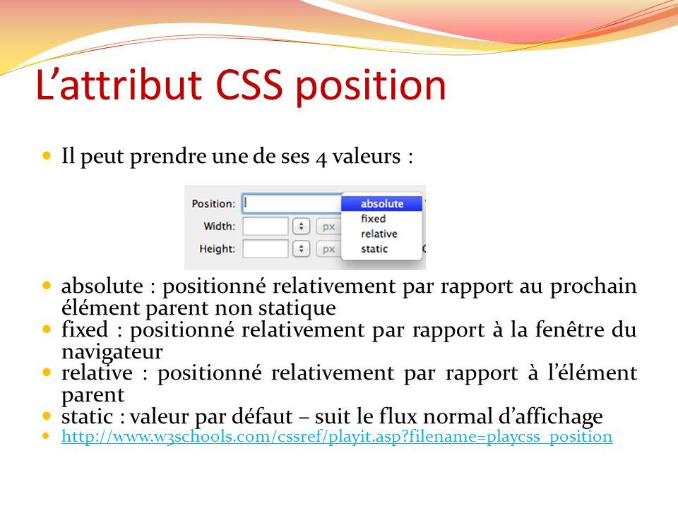 Lattribut CSS position Il peut prendre une de ses 4 valeurs : absolute : positionné relativement par rapport au prochain élément parent non statique f