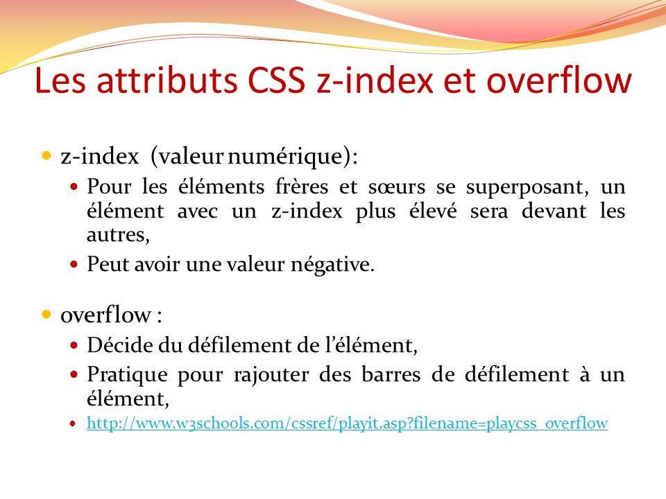 Les attributs CSS z-index et overflow z-index (valeur numérique): Pour les éléments frères et sœurs se superposant, un élément avec un z-index plus élevé sera devant les autres, Peut avoir une valeur négative.